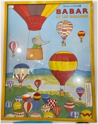 Vintage Babar the Elephant Babar Et Les Ballons' Framed Print
