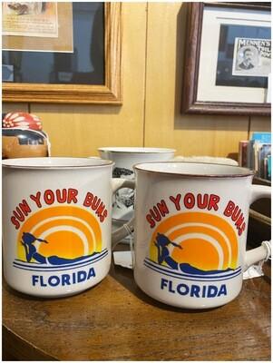 Vintage Sun Your Buns Florida Mugs