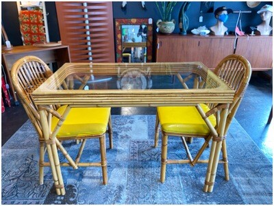 1970's Bamboo & Rattan Glasstop Breakfast Table with 2 Chairs