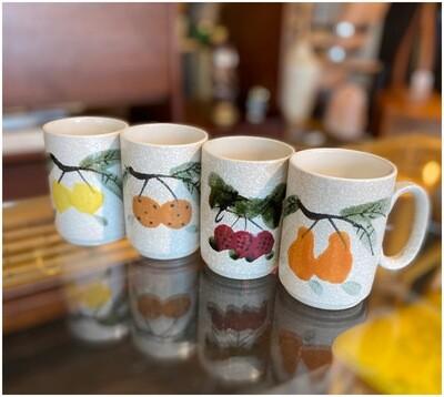 Mid Century Japanese Handpainted Stoneware Mugs