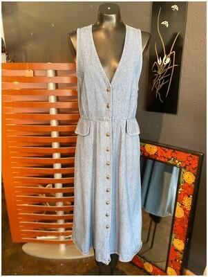 Vintage Denim Sleeveless V-Neck Maxi