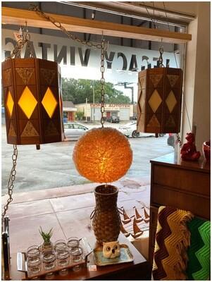 Mid Century Pair Cork & Teak Hanging Swag Lamps