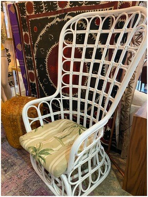 Vintage 1960's Grand Rattan Chair with Pillow
