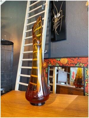 "Mid Century 23"" Amber Swung Art Glass Stretch Vase"