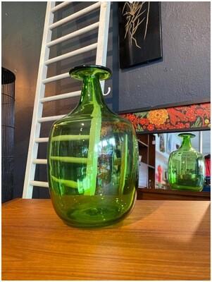 Mid Century Blenko Joel Myers Bulbous Green Glass Bottle
