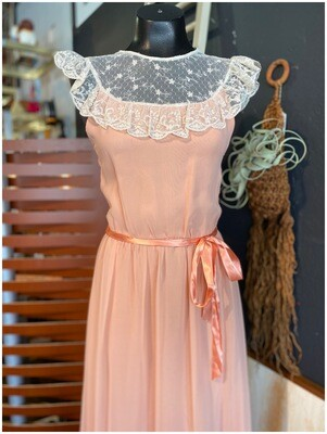 Vintage Southern Charmer with Lace Neck and Satin Belt