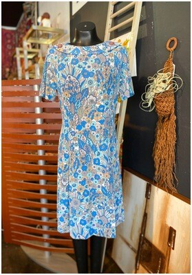 Vintage Blue Floral Day Dress
