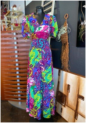 Vintage Psychedelic Maxi Dress