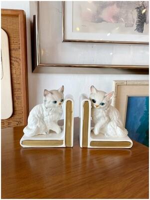 Vintage Ceramic Kitten Bookends Made in Japan