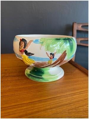 Vintage 1960's Harveys Lake Tahoe Casino Hula Girls OMC Japan Hand Painted Ceramic Bowl