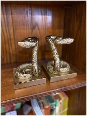 1980's Repro Brass Snake Bookends