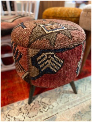 Handmade Ottoman Stool with Vintage Rug Fabric