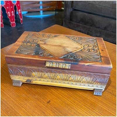Vintage Hand Carved Cypress Box