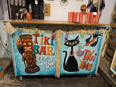 Artisan Made Tiki Bar w/ Original Tiki Art