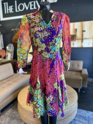 Vintage 1970's Handmade Floral Long Sleeve Dress