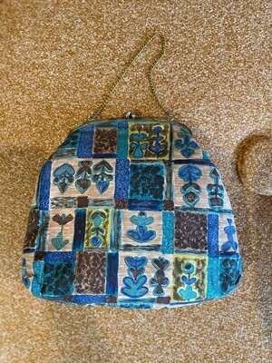 Vintage Blue & Green Fabric Purse