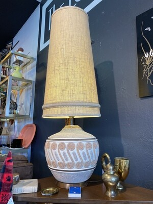 Mid Century Modern Tall Lamp with Original Shade