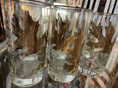 Mid Century Gold Leaf HighBall Glasses