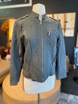 Modern Faux Leather Bomber Jacket