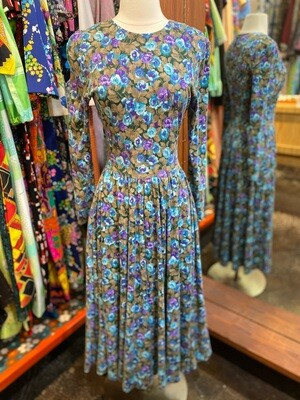 Vintage Floral Long Sleeve Drop Waist Dress