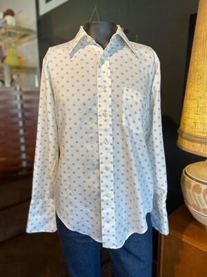 Men's Arrow Vintage 70's White & Blue Polka Dot Shirt
