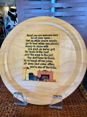 Vintage Wood Plate with Saying