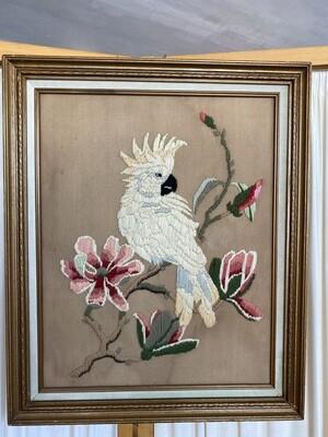 Vintage Cockatoo Crewel Wall Art