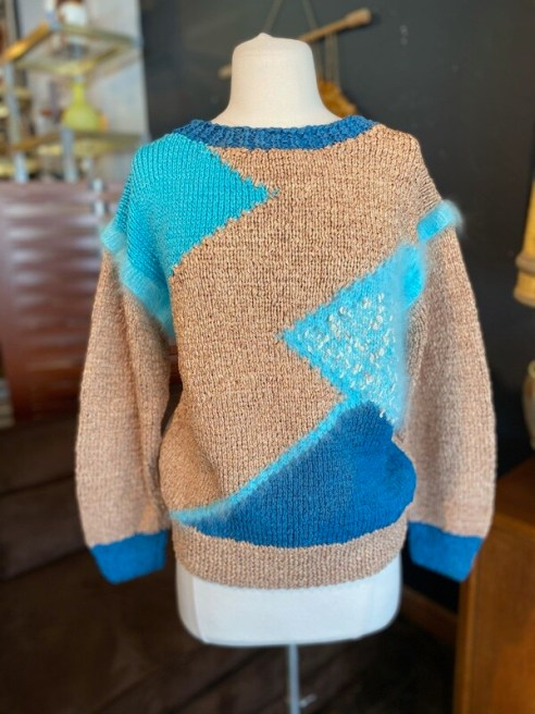 Vintage Hand-Knit Acrylic & Angora with Cotton Trim & Leather Sweater