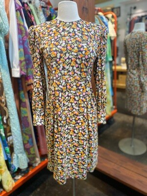 Vintage Floral Long Sleeve Day Dress