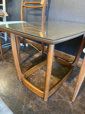 Mid Century End Table with Protective Glass