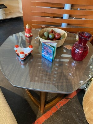 Mid Century Octagon End Table with Protective Glass
