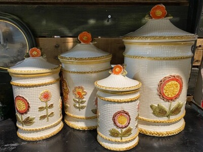 Vintage 70's Set of 4 Canisters