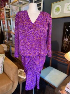 Vintage 1980's Hal Ferman Oversize Drop Waist Dress