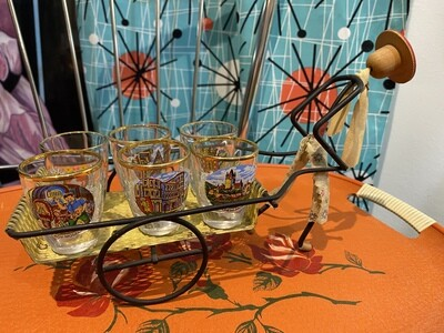 Vintage Rickshaw with 6 German Shot Glasses