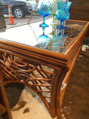 Vintage Rattan Glass Top Coffee Table with Bottom Shelf