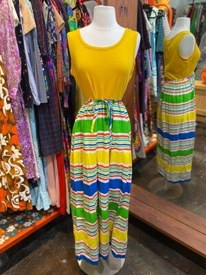 Vintage 1970's Sleeveless & Belted Maxi