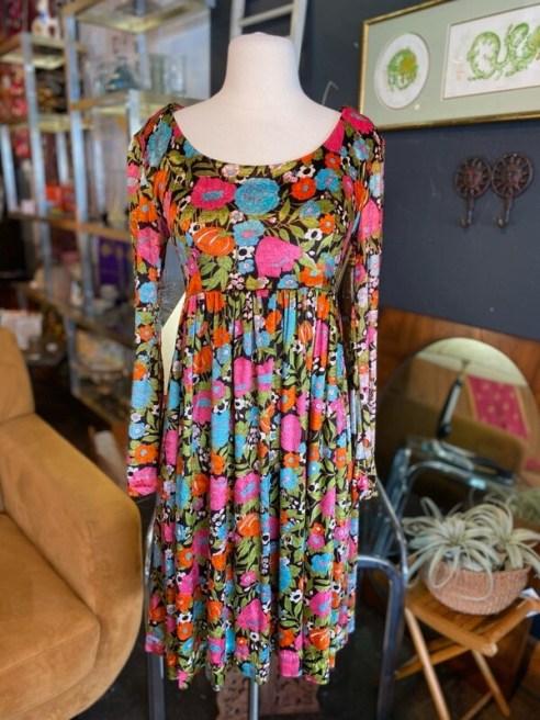 Vintage Floral Velour Dress