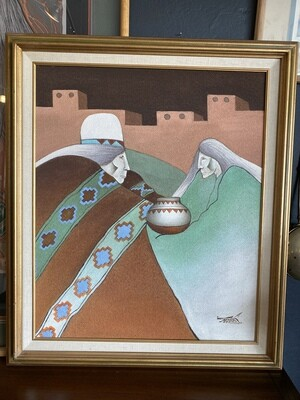 Vintage 1980's Myung Mario Jung Sand Painting Canvas Southwest Original & Signed