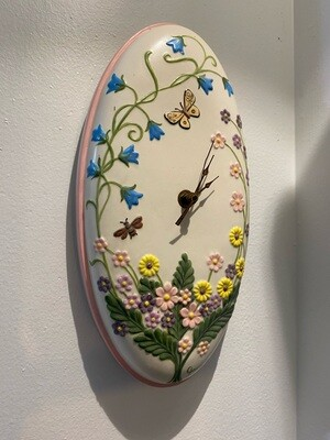 Vintage 1987 Hand Painted & Signed Floral Clock