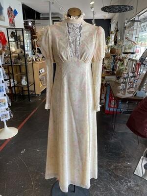 Vintage 1960's Handmade Prairie Dress with Amazing Long Sleeves