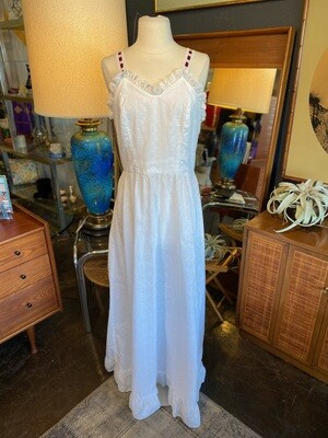 Vintage 1970's Handmade Eyelet Dress with Entwined Ribbon Straps