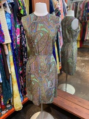 Vintage Sleeveless Paisley Dress