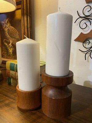 Mid Century Modern Teak Candle Holder Duo with Candles