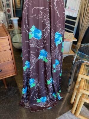 Vintage 1970's Floral V-Neck Maxi Dress