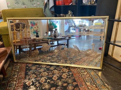 Signed Sebet Silverman Brass Crane Mirror