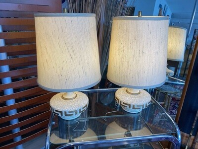 Mid Century Modern Pair of Low Profile Table Lamps with Original Shades