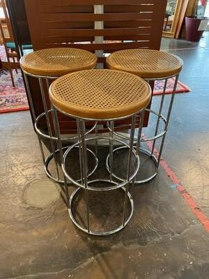Mid Century Modern Set of Cane & Chrome Bar Stools