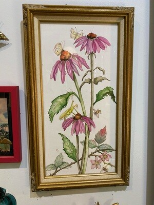 Original Water Colors Flowers with Insects