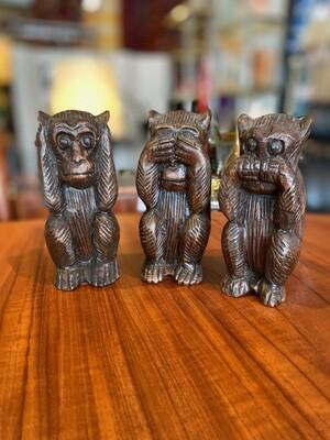 Vintage Wood See No Evil, Speak No Evil, Hear No Evil Monkeys