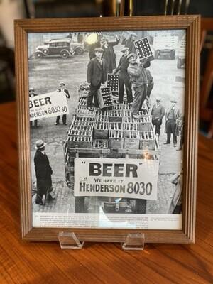"""Vintage Framed The End of Prohibition """"Beer"""""""